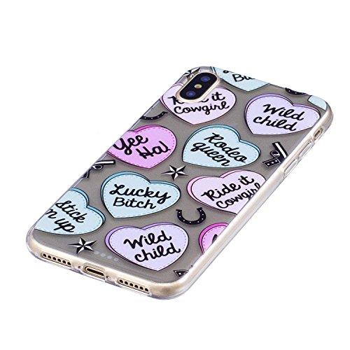 Coque iPhone X lettre d'amour Premium Gel TPU Souple Silicone Transparent Clair Bumper Protection Housse Arrière Étui Pour Apple iPhone X / iPhone 10 (2017) 5.8 Pouce + Deux cadeau