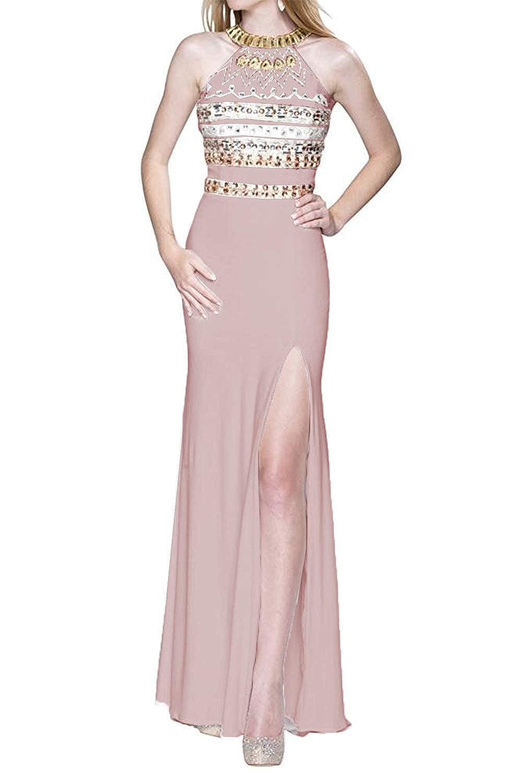 bluesh Promworld Women's Halter Off The Shoulder Evening Dress Crystal Beaded Split Prom Dress Long White