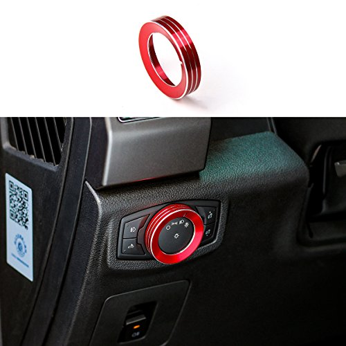 Thenice Aluminium Alloy Headlight Switch Knob Front Headlamp Control Cover Trim Ring for 2015 2016 2017 Ford F150 XLT & Mustang (Red)