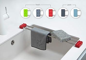Sanni Shoo drip.line – multifunktionaler Abtropfer, Spültuchhalter,  Schwammhalter, Spülen Caddy, Ordnungshelfer für die Küche (Rot, Fresh)