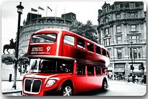 Red Double Decker Bus London Bus Machine Clean Top Fabric & Non-Slip Rubber Backing Durable Indoor / Outdoor Doormat Door Mats