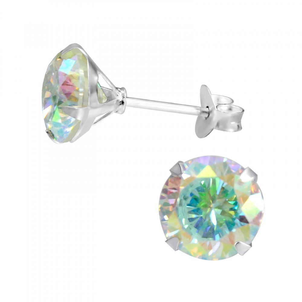 Sterling Silver AB Simulated Crystal Round 8mm Stud Earrings with Cubic Zirconia