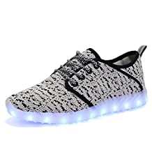 EQUICK Knitting Light Up Shoes Led Flashing Breathable USB Charging Casual Walking Sneakers for Women and Men