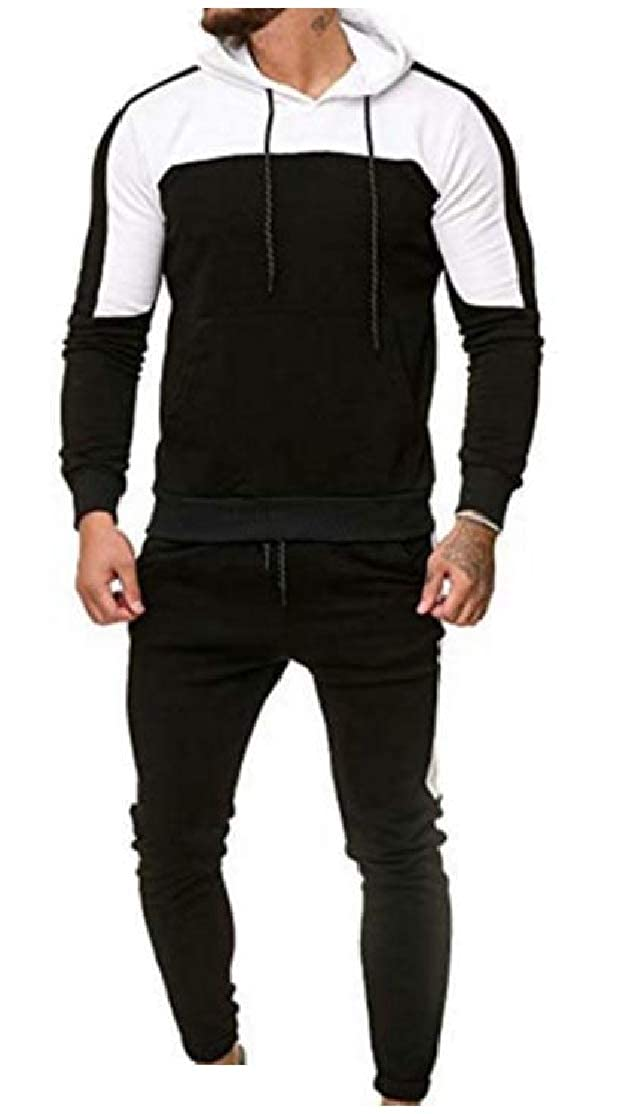 Comaba Mens Cargo Pocket Hooded Casual Color Block Two Pieces Tracksuits