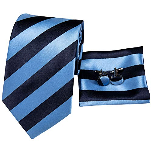Hi-Tie Mens Blue Stripes Tie and Pocket Square ()
