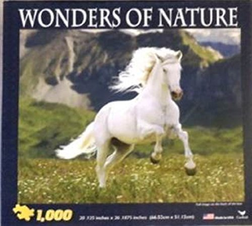 Wonders of Nature 1000 Piece Puzzle 20.125 X 26.1875 White Horse in Meadow near Mountain Range Cardinal