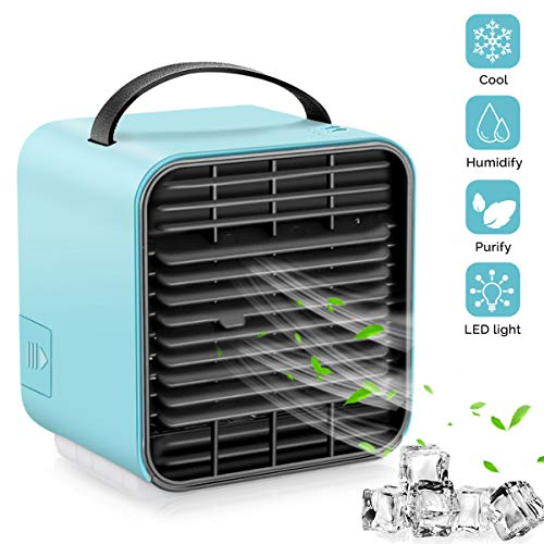 VRZTLAI Portable Air Conditioner Fan, Personal Space Air Cooler Mini USB Rechargeable Desk Fan Small Evaporative Cooler Purifier Humidifier with Handle & Night Light for Office Home Outdoors, Blue (Ac Portable Car)