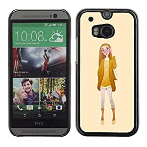 Shell-Star Arte & diseño plástico duro Fundas Cover Cubre Hard Case Cover para HTC One M8 ( Girl Glasses Fashion Yellow Woman )