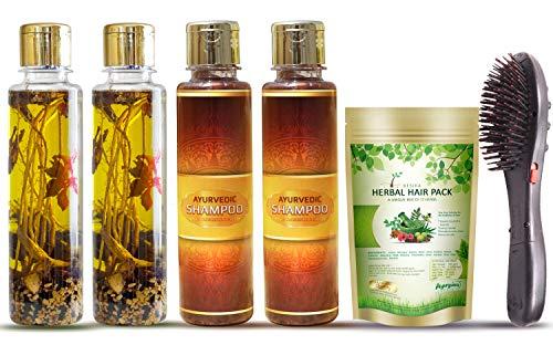 Ayurguna Hair Oil KIT – Pure Natural and Handmade – 2 Hair oil Bottles, 2 Shampoo Bottles, 1 Hair Pack, 1 Magnetic Hair…