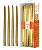 Hyoola 12 Pack Tall Metallic Taper Candles - 10 Inch Gold Painted Metallic, Dripless, Unscented Dinner Candle - Paraffin Wax with Cotton Wicks - Individually Wrapped