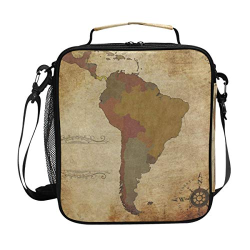 Container Hulk Dividers (Ancient South America Map Lunch Bag Womens Insulated Lunch Tote Containers Zipper Square Lunch Box for Kids Men)