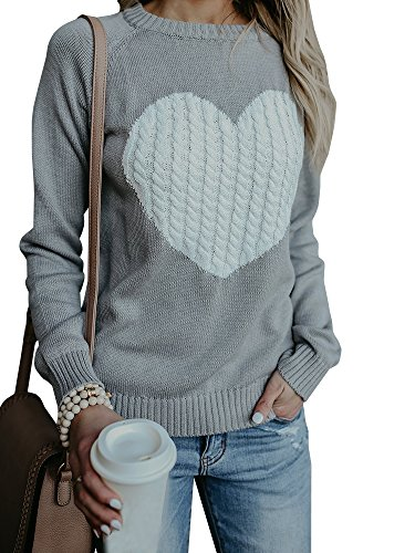 Womens Sweaters Valentine's Day Long Sleeve Cute Heart Cable Knitted Sweatshirts Pullover Sweater Tops Grey
