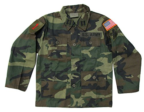 Kids Woodland Camo Army Jacket with Authentic Patches (Kids 16)