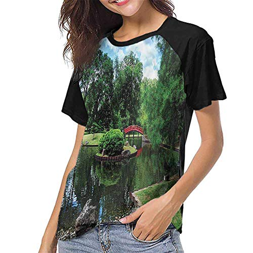 Mangooly Raglan Short Sleeve Shirts,Japanese,Japanese Garden Lake S-XXL Summer Women's Short Sleeve -