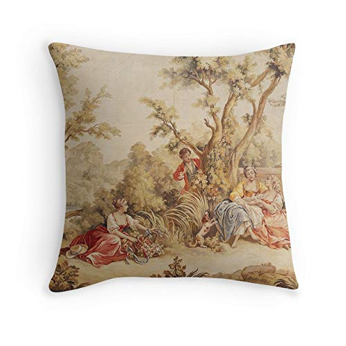 Aubusson Tapestry French 18th Century for Sofa Couch Living Room Bed Decorative (Square 16x16) (18th Century Tapestries)