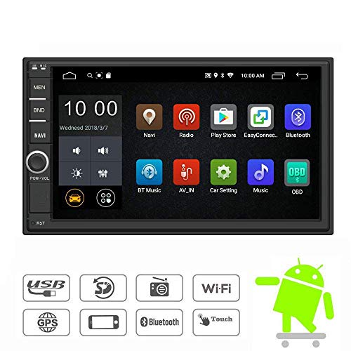 YODY Android 9.0 Double Din Car Stereo Radio 7 Inch Touch Screen in Dash GPS Navigation Support WiFi Bluetooth Mirror Link SWC OBD with Backup Camera and Microphone
