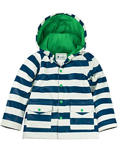 Oakiwear Children's Rain Jacket, Blue & White Stripes 2T Toddler