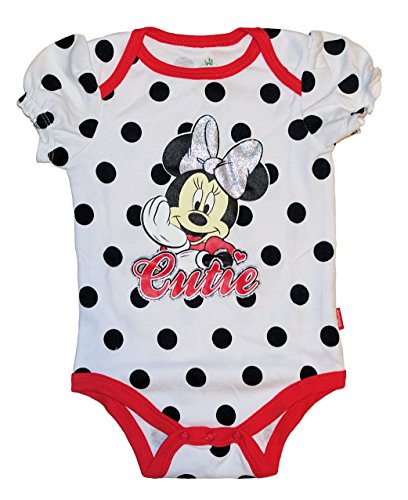 [Disney Mickey & Minnie Mouse Baby Boys & Girls Bodysuit Dress Up Outfit (3-6 Months, White Minnie)] (Minnie Mouse Outfit For Babies)