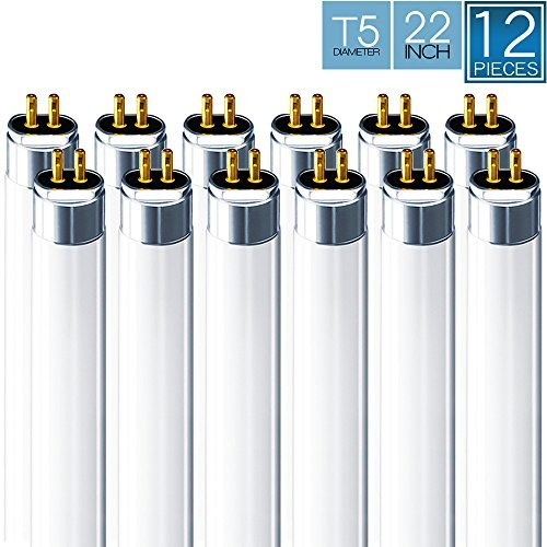 Luxrite F14T5/835 14W 22 Inch T5 Fluorescent Tube Light Bulb, 3500K Natural White, 60W Equivalent, 1140 Lumens, G5 Mini Bi-Pin Base, LR20857, 12-Pack