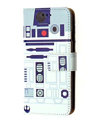 iPhone 8 Plus Wallet Case, DURARMOR Star Wars R2D2 Astromech Droid Robot Premium PU Leather Wallet Case with ID Credit Card Cash Slots Flip Stand Wrist Strap Cover Case R2D2