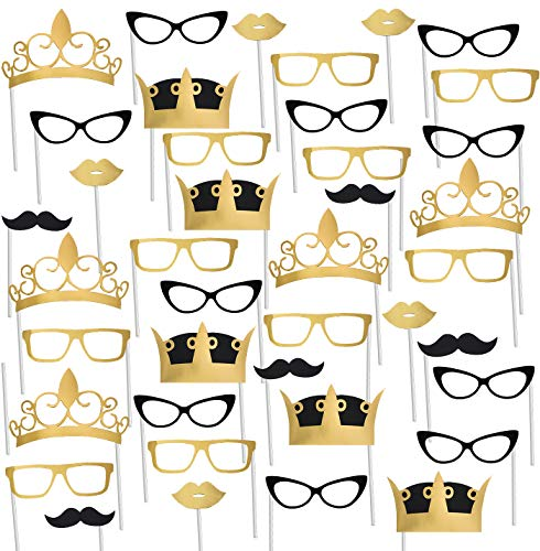 Tigerdoe Black and Gold Photo Booth Props -