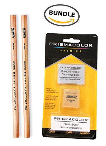 [2 Prismacolor Premier Colorless Blender Pencils + Prismacolor 3 Eraser Set BUNDLE] (Colored Kneaded Art Eraser)