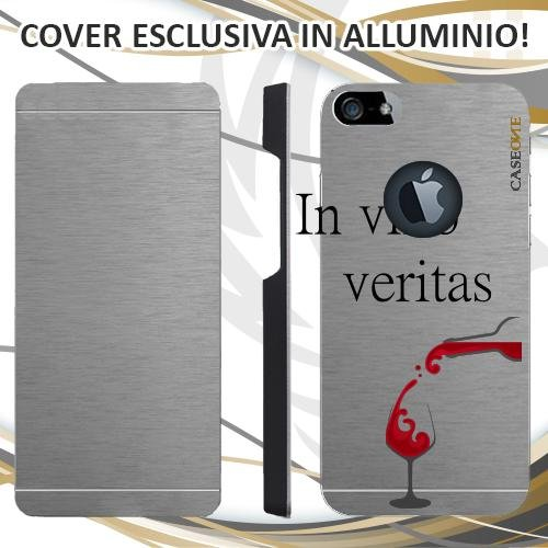 CUSTODIA COVER CASE IN VINO VERITAS PER IPHONE 5 ALLUMINIO TRASPARENTE