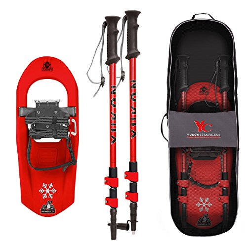 Yukon Charlie's Junior Molded Snowshoes kit w/ Poles (kids up to 100lbs) - Red