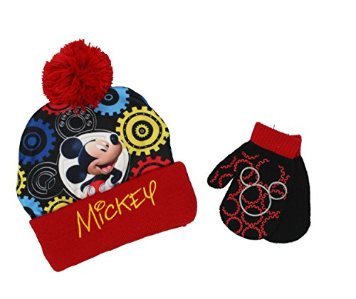Mickey Mouse Toddler Boys Beanie Hat and Mittens Set (Gea...