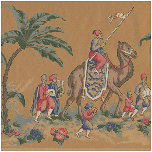 (Prepasted Wallpaper Border - Vintage Riders on Camel Elephant Brown Wall Border Retro Design, Roll 15 ft. x 10 in.)