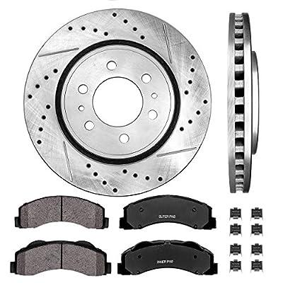 Callahan CDS02000 FRONT 350 mm Premium D/S 6 Lug [2] Brake Disc Rotors + [4] Ceramic Brake Pads + Hardware