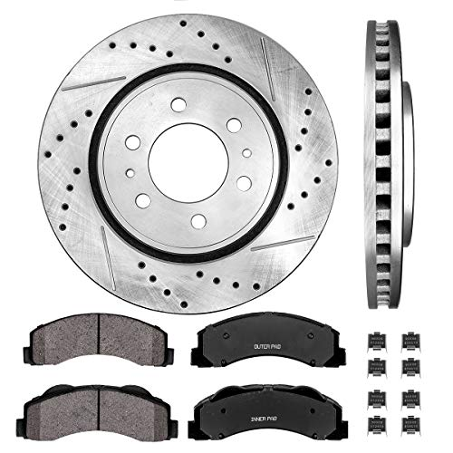 Callahan CDS02000 FRONT 350 mm Premium D/S 6 Lug [2] Brake Disc Rotors + [4] Ceramic Brake Pads + Hardware ()