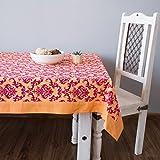 ShalinIndia Colorful Rectangular Damask Print Cotton Tablecloth 144'' x 60'' Orange And Burgundy