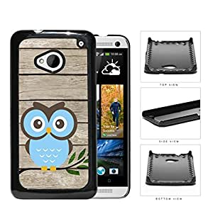 Blue Owl On Tree Branch With Wood Pattern HTC one M7 Hard Snap on Plastic Cell Phone Cover