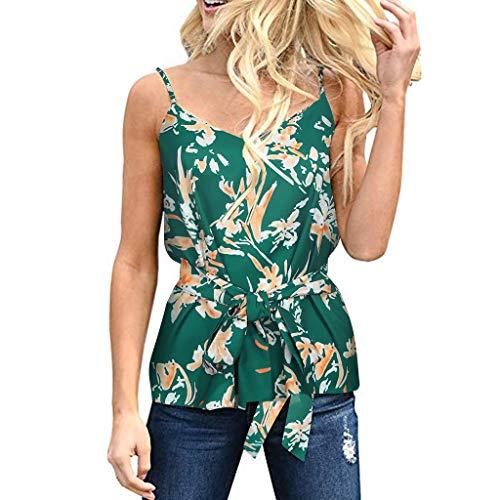 Shisay Women's V Neck Cami Tank Tops with Belt Ruffle Casual Sleeveless Shirts Blouses Green