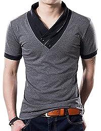 Men's Fashion Stitch Slim Fit Muscle V Neck Button Short Sleeve Cotton T Shirts