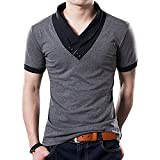 Yong Horse Mens Summer Fashion Design Slim Fit V Neck Short Sleeve Jersey T Shirts (Grey XL)