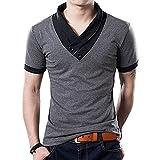 Yong Horse Mens Summer Fashion V Neck Contrast Color Slim Fit Short Sleeve Cotton T-Shirt (Grey L)