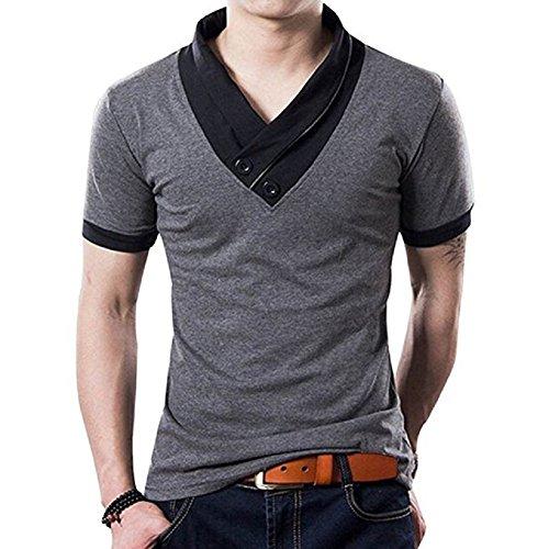 Contrast Stitch Short Sleeve T-shirt (Mens Fashion Casual Soft Cotton Slim Muscle V Neck Short Sleeve T Shirts (Grey-M))
