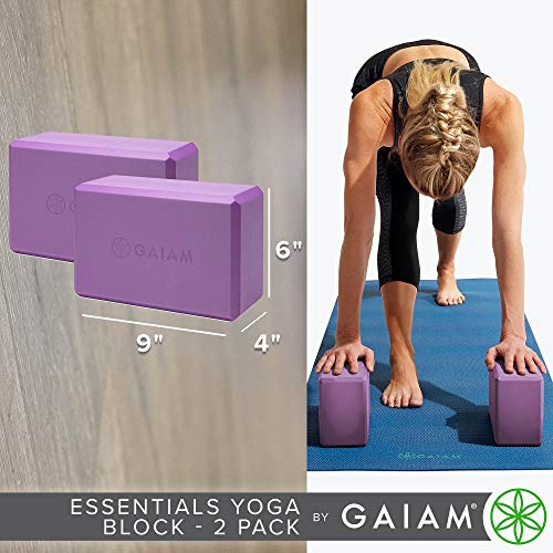 Gaiam Essentials Yoga Block (Set of 2) - Supportive Latex-Free EVA Foam Soft Non-Slip Surface for Yoga, Pilates, Meditation, Deep Purple