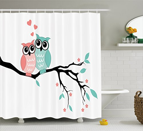 Teal and White Shower Curtain by Ambesonne, Cute Owl Couple Sitting on Tree Branch Valentines Romance Love, Fabric Bathroom Decor Set with Hooks, 70 Inches, Turquoise Coral Black (Owl And White Shower Curtain Black)
