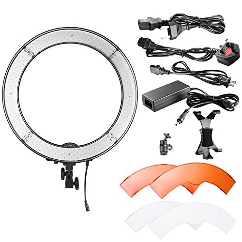 Neewer Camera Photo/Video LED Ring Light 18 inches/48 centimeters Outer, 55W 240 Pieces LED, 5500K Dimmable with Plastic Color Filters, iPad Clip and Universal Adapter with US/EU Plug by Neewer