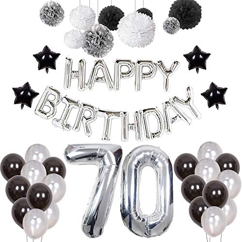 70th Birthday Decorations, Puchod Happy Birthday Banner Number 70 Foil Ballon Party Decorations Set with Tissue Paper Pom Pom Balls Black & Sliver for Men ()