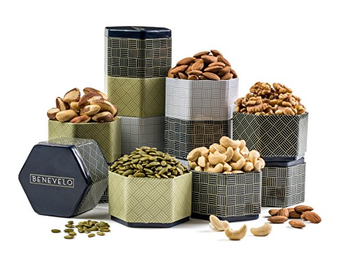 Benevelo Gifts Gourmet Raw Nut Assortment in 5-Tier Tin Tower incl. Walnuts, Cashews, Almonds, Papitas & Filberts - A Nutritious & Delicious Gift in Beautiful Presentation for Any Occasion