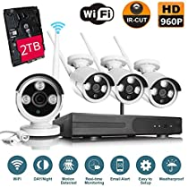 VOYAGEA 960P HD Wireless 4CH Wireless monitoring 4 Channel 960P Wifi NVR CCTV Surveillance 1.3MP Outdoor Security Network Camera Support Motion Detection 2TB hard drive A8