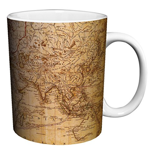 World Map Antique Vintage Old Style Decorative Educational Porcelain Gift Coffee (Tea, Cocoa) 11 Oz. Mug