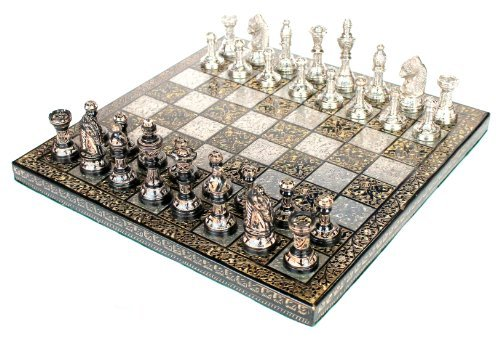 StonKraft Brass Chess Board Game Set with 100% Brass Chess Pieces Chessmen Coins (12 x12 Inch) ()