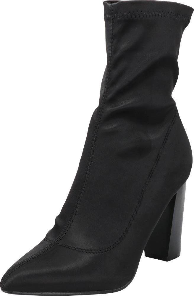 Cambridge Select Women's Closed Pointed Toe Soft Stretch Sock Style Slip-On Chunky Block Heel Ankle Bootie,10 B(M) US,Black Satin
