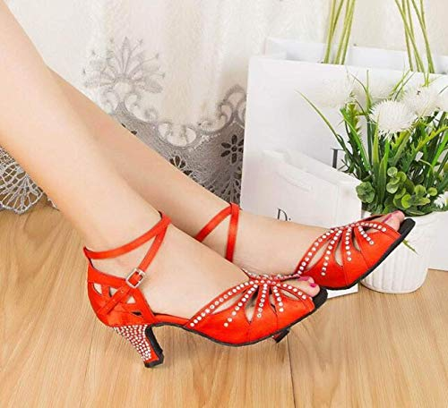 Sparking Sandales modern Salsa our40 Bleu Yingsssq De eu39 Uk6 coloré Redheeled6cm samba Satin Femme Chaussures Latin Jazz tango chaussures chacha Cristaux Talons Hauts Taille Blackheeled6cm qx6ft