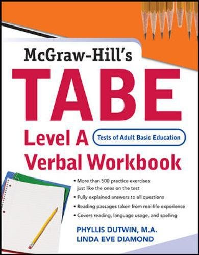 TABE Level A Verbal Workbook (Best Tabe Test Study Guide)